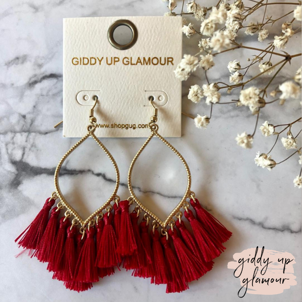 Gold Outline Drop Earrings with Fringe Tassels in Red
