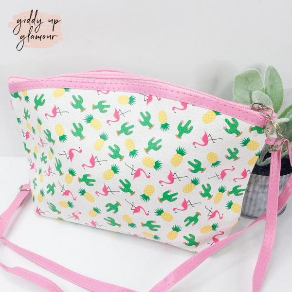 Oh So Versatile Cosmetic Bag/ Cross Body Purse in Cactus, Pineapple, and Flamingo Print