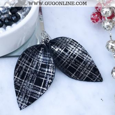 The JoJo's Plaid Pinched Leather Earrings in Silver