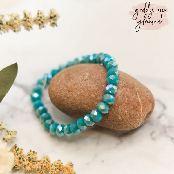 AB Crystal Beaded Stacker Bracelet in Turquoise