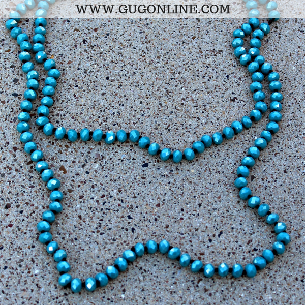 60 Inch Long Layering 8mm Crystal Strand Necklace in Turquoise AB