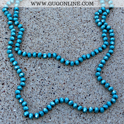 60 Inch Long Layering 8mm Crystal Strand Necklace in Turquoise