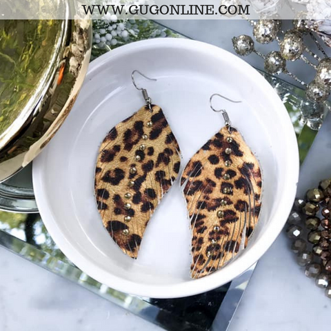 Leather Feather Earrings in Leopard