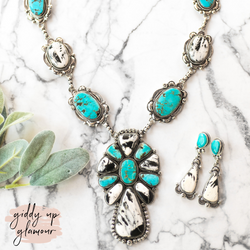 Gilbert Tom | Large Turquoise and White Buffalo Statement Necklace + Matching Earrings