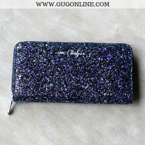Iridescent Glitter Wallet in Black