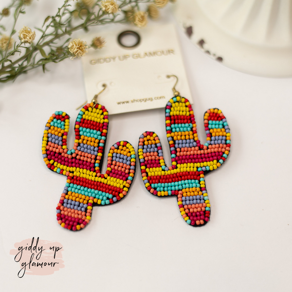 Seed Bead Cactus Statement Earrings in Sunset Multi