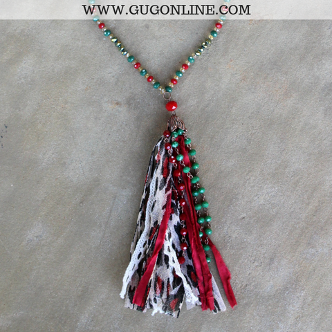 Green Crystal Christmas Necklace with Tassel in Red and Leopard