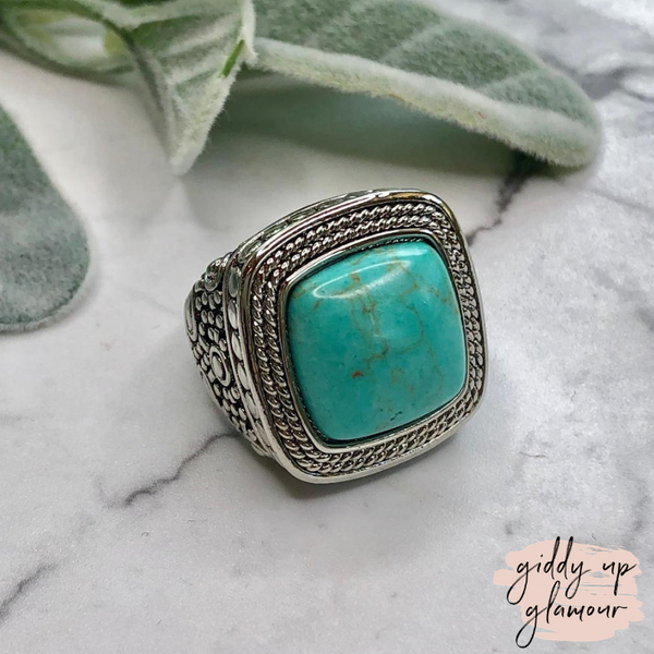 Designer Inspired | Silver Toned Wheat Textured Fashion Ring with Turquoise Stone