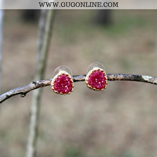 Maroon and Gold Druzy Studs