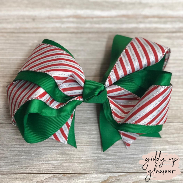 Candy Cane Stripe Hair Bow with Glitter and Green Accents