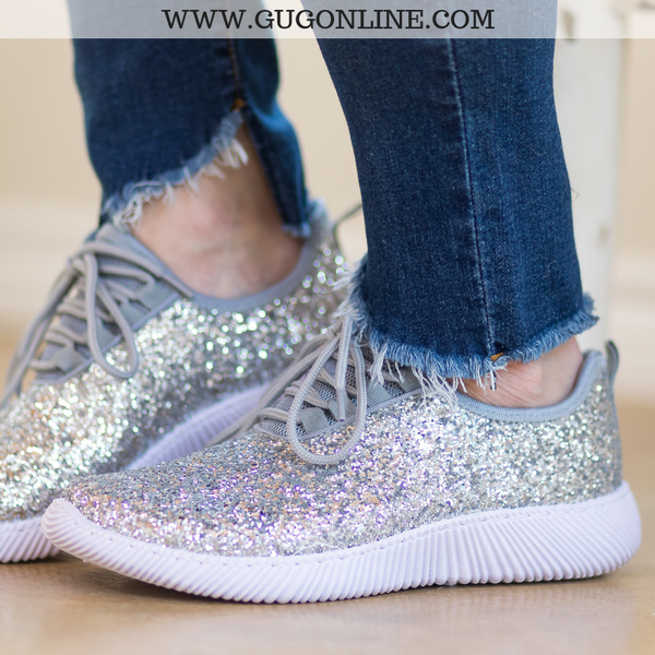cee77ea16a9 Endless Sparkle Glitter Bomb Tennis Shoes in Silver – Giddy Up Glamour  Boutique