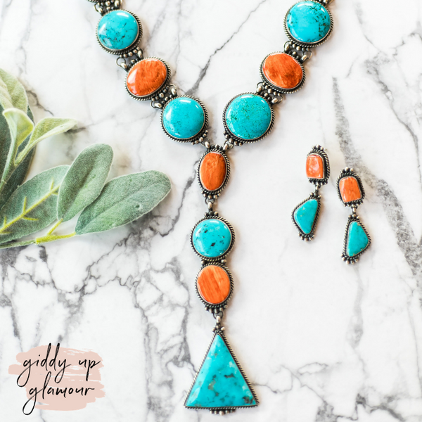 Marie Bahe | Handmade Navajo Spiny Oyster & Kingman Turquoise Lariat Necklace + Matching Earrings