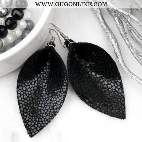 The JoJo's Shimmer Pinched Leather Earrings in Black