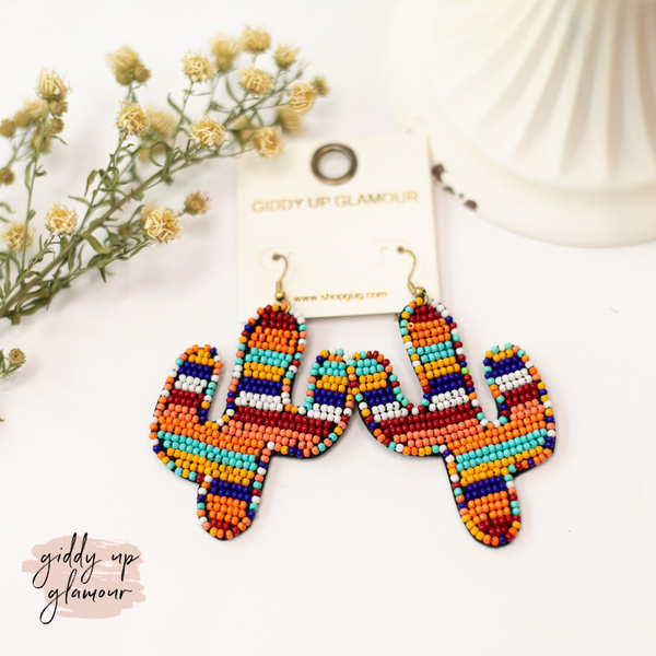 Seed Bead Cactus Statement Earrings in Desert Multi