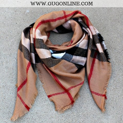 Burberry Plaid Blanket Scarf in Camel
