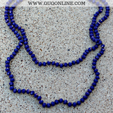 60 Inch Long Layering 8mm Crystal Strand Necklace in Royal Blue