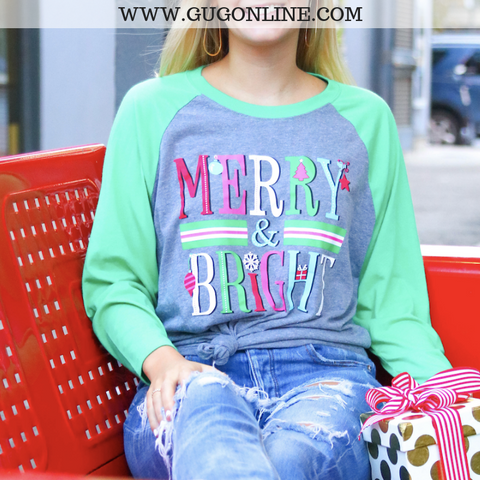 Merry & Bright Christmas Baseball Tee in Heather Grey