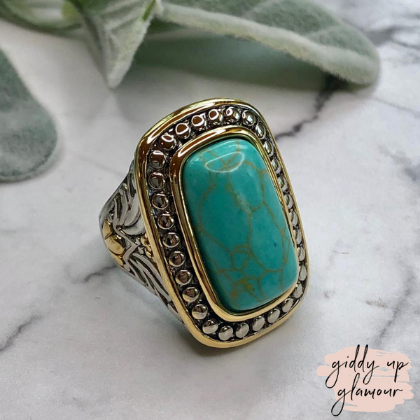 Designer Inspired | Two Toned Framed Turquoise Rectangle Stone Ring