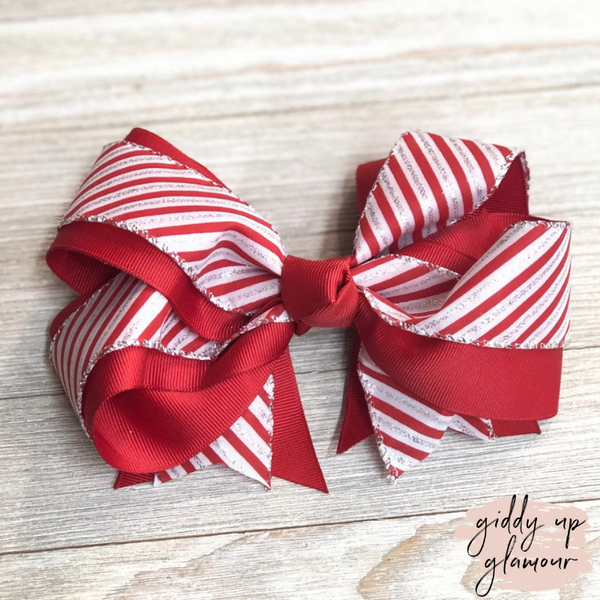 Candy Cane Stripe Hair Bow with Glitter and Red Accents