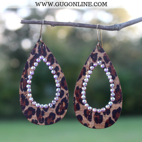 Pink Panache Leopard Open Teardrop Earrings with AB Crystals