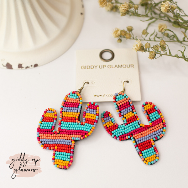 Seed Bead Cactus Statement Earrings in Sunrise Multi