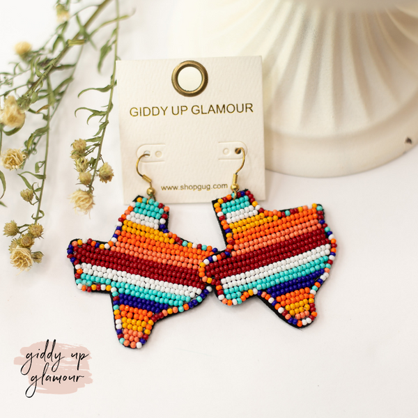Seed Bead Texas Statement Earrings in Desert Multi
