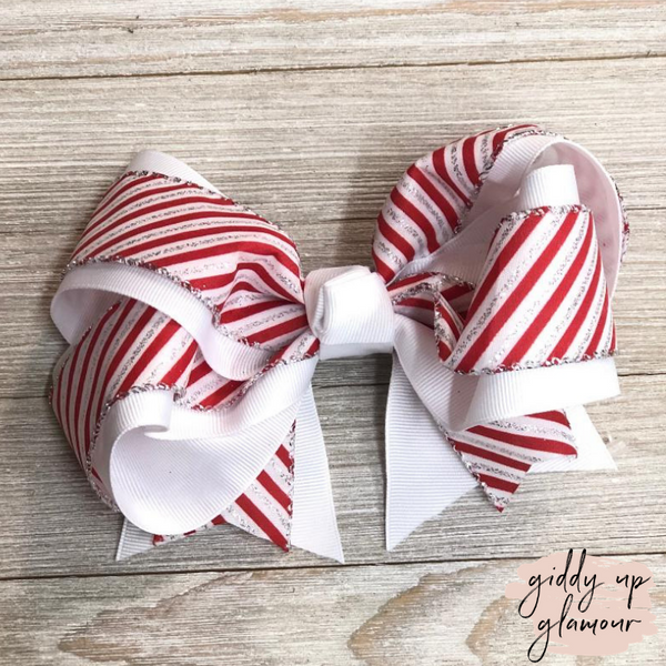 Candy Cane Stripe Hair Bow with Glitter and White Accents
