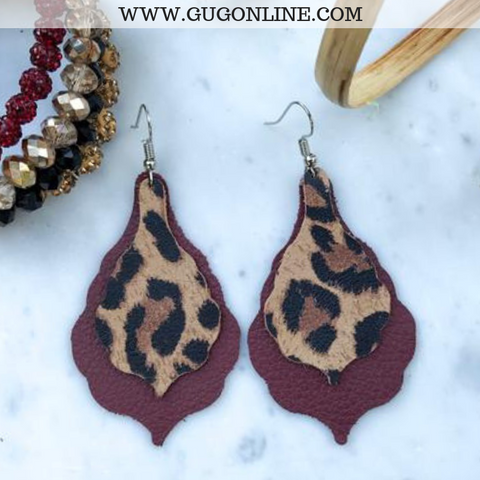 Scalloped Pear-Shaped Double Leather Earrings in Leopard and Cheetah