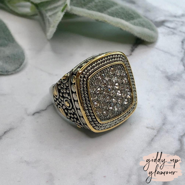 Designer Inspired | Silver Toned Wheat Textured Fashion Ring with Clear Crystals