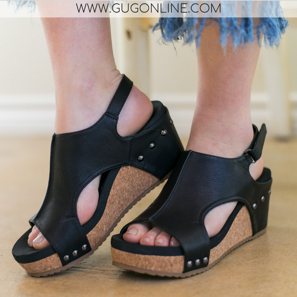 Black Studded Wedges/Heels | Comfy Stylish Boutique Shoes Footwear