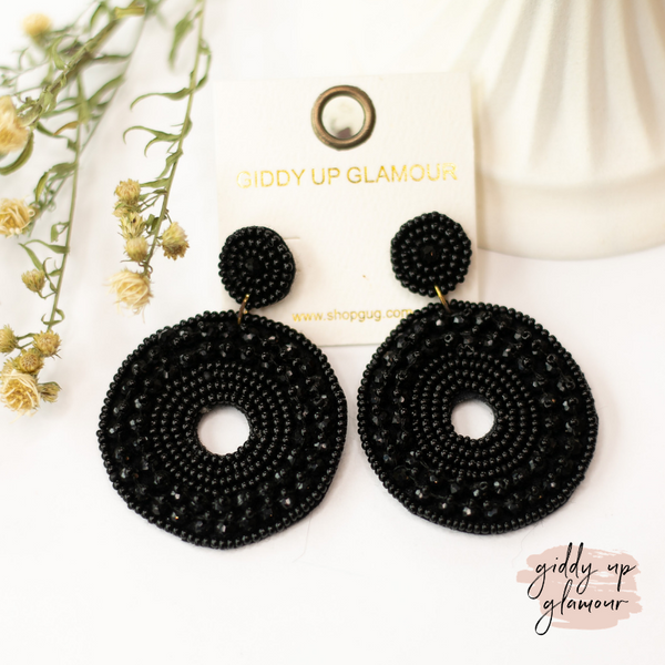 Seed Bead Circle Drop Earrings in Black