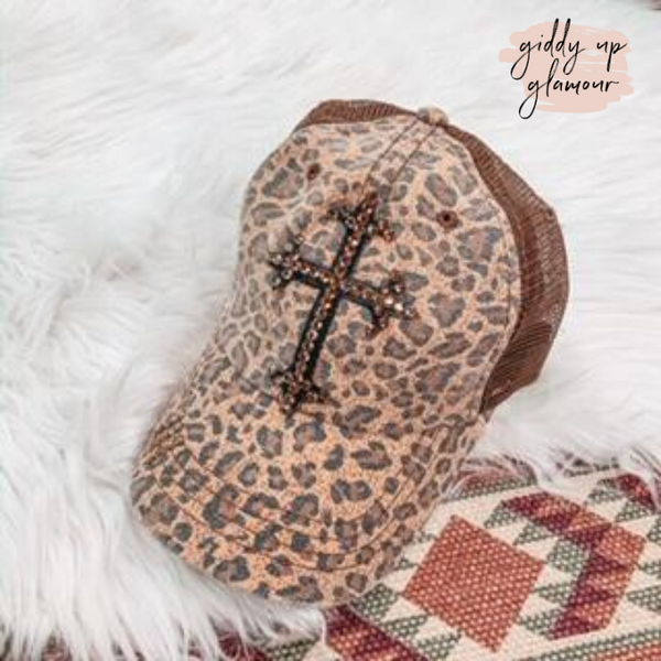 Brown Cheetah Print Baseball Cap with Brown Cross in Swarovski Crystals