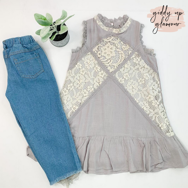 Children's | Make it Graceful Lace Overlay Babydoll Tank Top in Grey