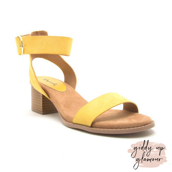 Take Your Step Ankle Strap Heeled Sandals in Mustard