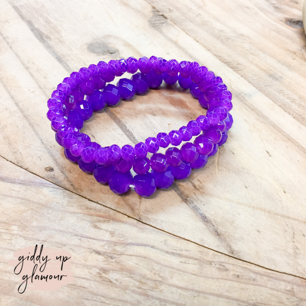 Set of Three Crystal Bracelets in Purple