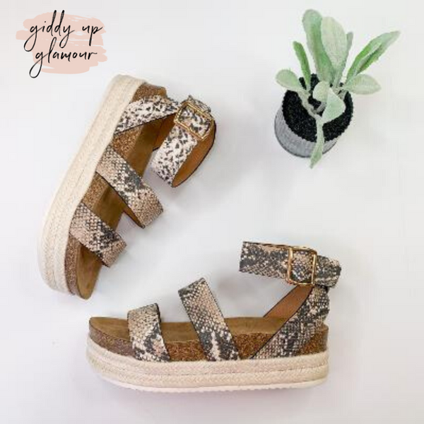 Meet Me in Cabo Strappy Espadrille Platform Sandals in Snakeskin