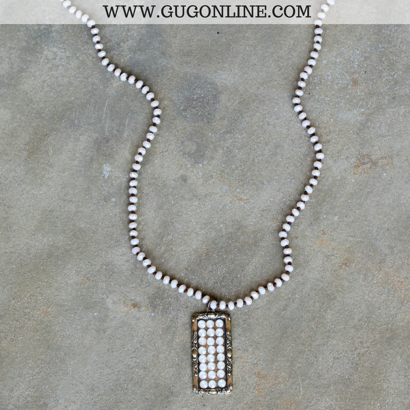 Pink Panache Mini Ivory Crystal Necklace With Bronze
