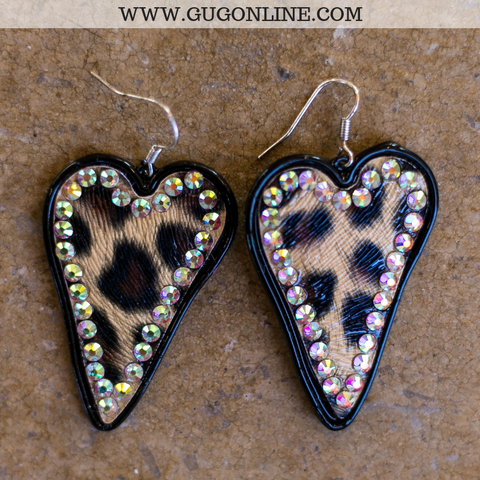 Leopard Heart Earrings with AB Crystals in Black