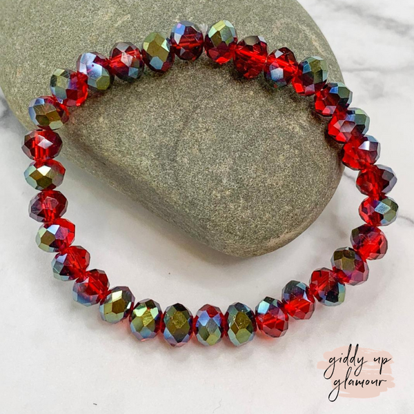 Crystal Beaded Stacker Bracelet in Red Iridescent