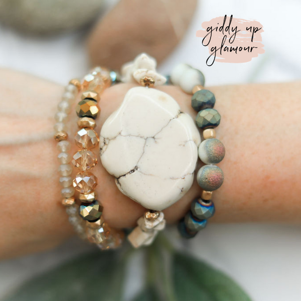 4 Piece Crystal Bracelet Set with Ivory Slab Pendant