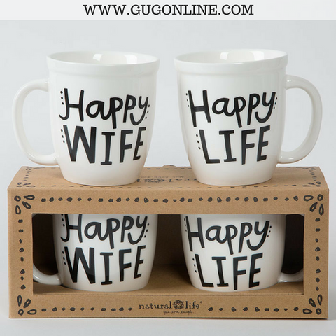 Happy Wife Happy Life Ceramic Mug Set