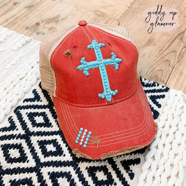 Coral Red Baseball Cap with Turquoise Cross in Swarovski Crystals