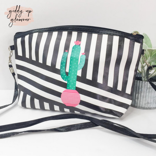 Oh So Versatile Cosmetic Bag/ Cross Body Purse in Black and White with Green Cactus