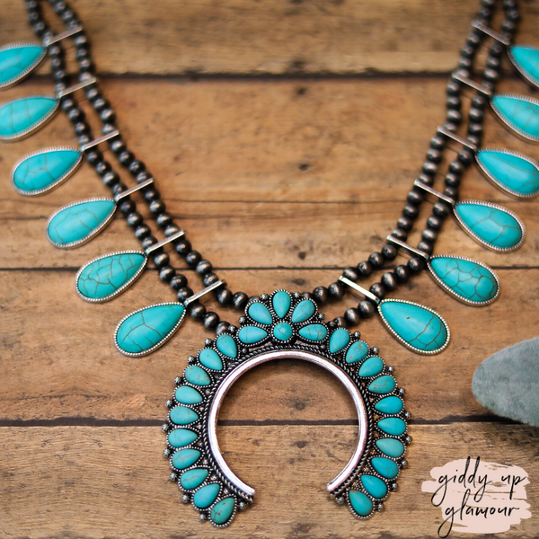 Navajo Pearl Inspired Squash Blossom Necklace in Turquoise