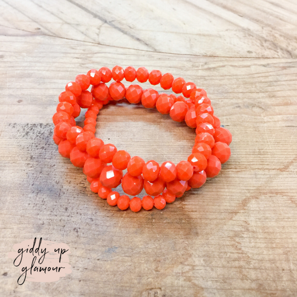Set of Three Crystal Bracelets in Orange