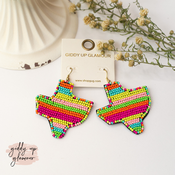 Seed Bead Texas Statement Earrings in Neon Multi