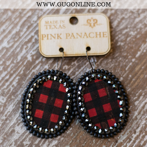 Pink Panache Black Matte Oval Earrings with Buffalo Plaid Inlay and Black Crystals