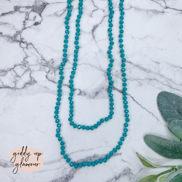 60 Inch Long Layering 6mm Crystal Strand Necklace in Turquoise