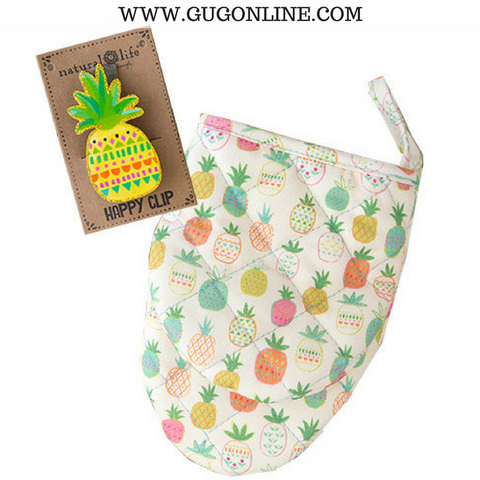Pineapple Oven Mitt & Clip Set