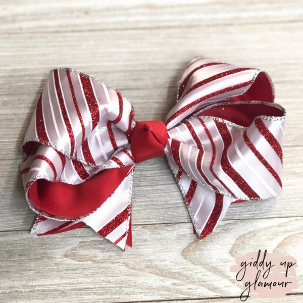 Red Glitter Candy Cane Stripe Hair Bow with Red Accents